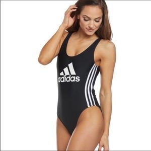 Adidas open scoop back logo swimsuit size M